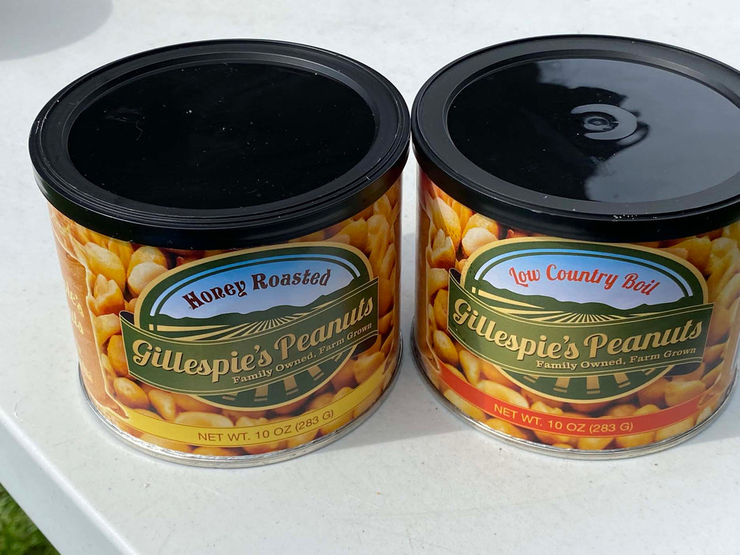 Honey Roasted Low Country Boil cans Gillespie's Peanuts grown on our family farm