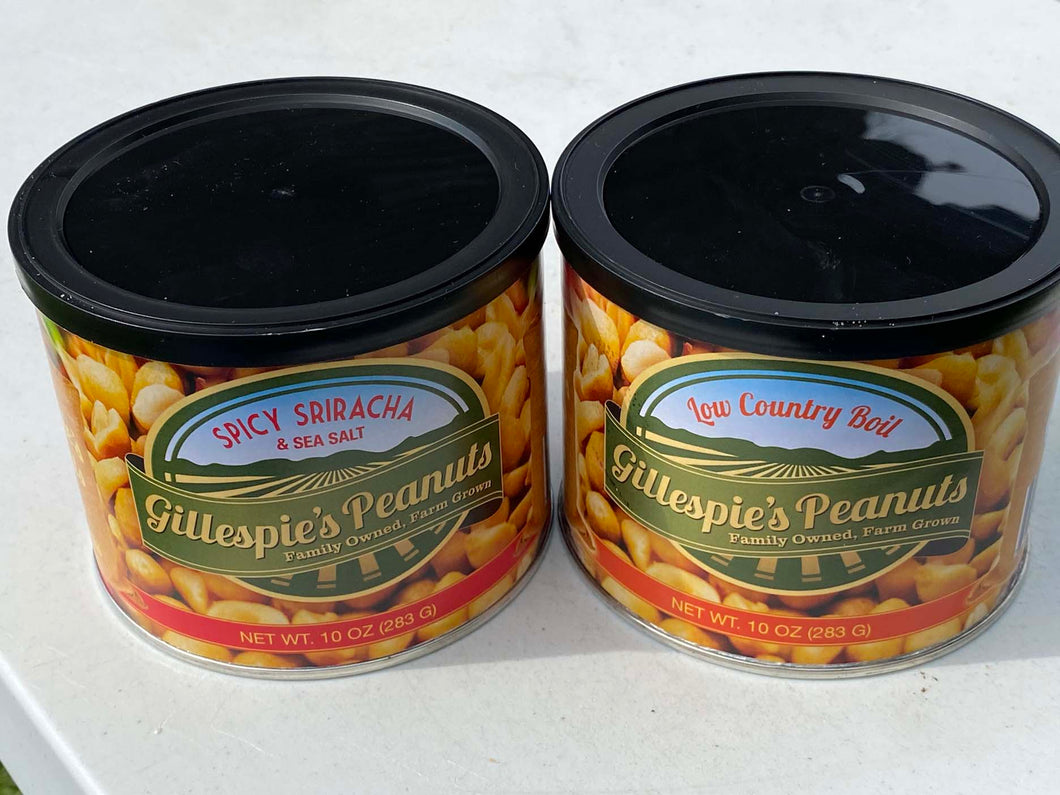 Spicy Sriracha Low Country Boil cans Gillespie's Peanuts grown on our family farm