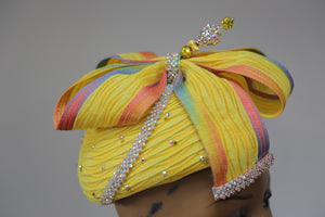 Yellow Swiss Braid Cocktail W/ Hat Pin