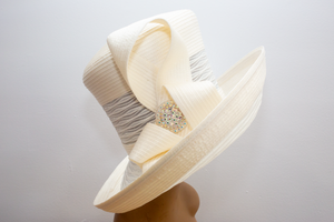 Ivory Roller Brim w/Bow - Hats by Shellie McDowell