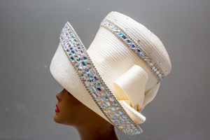 White Jeweled Coco Chanel - Hats by Shellie McDowell
