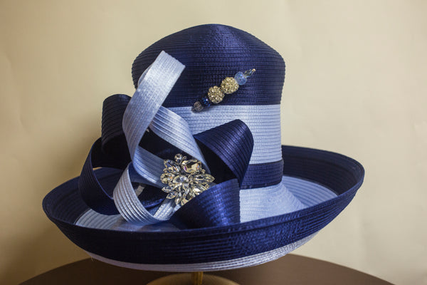 Two Tone Blue Bow with Crystal