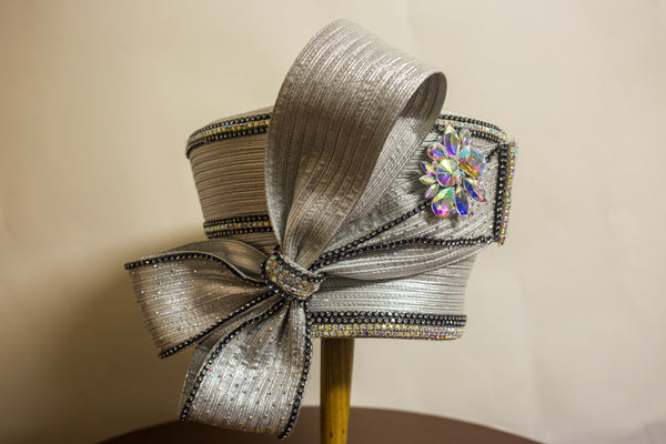 Grey Bow with Crystal