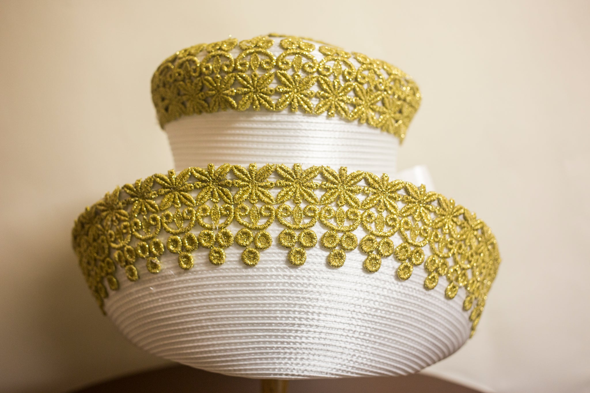 White And Gold Brim Bow - Hats by Shellie McDowell