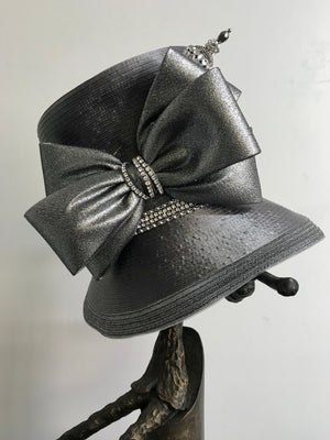 Pewter with Silver bow - Hats by Shellie McDowell