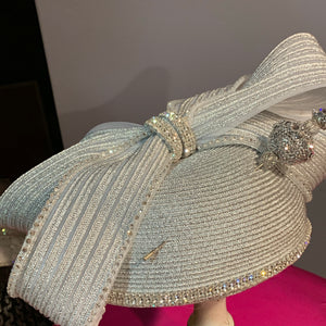 Silver Cap with Jeweled Bow