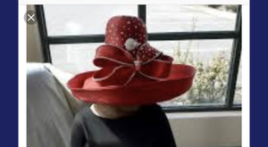 Red  Kettle Brim with pin. High crown rhinestones