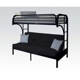 Black Twin over Full Futon Bunk Bed