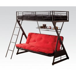 Twin over Full Futon Bunk Bed w/ Bookshelf