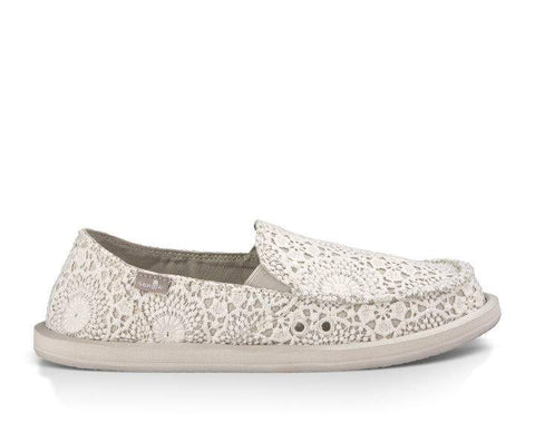 Sanuk Donna Crochet Sidewalk Surfer White/Oatmeal