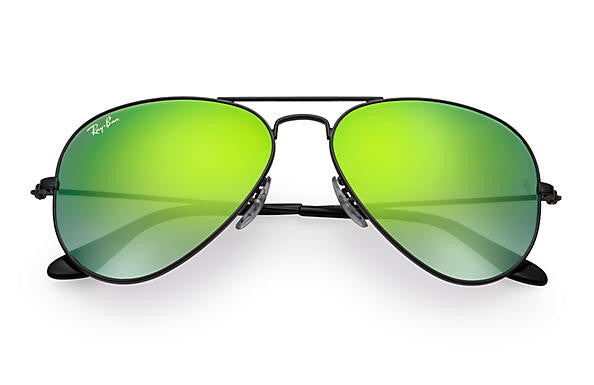 Ray Ban Aviator Flash Black/Green