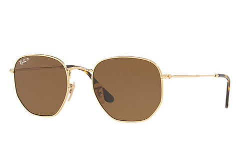Ray Ban Hexagonal Polarized Gold/Brown