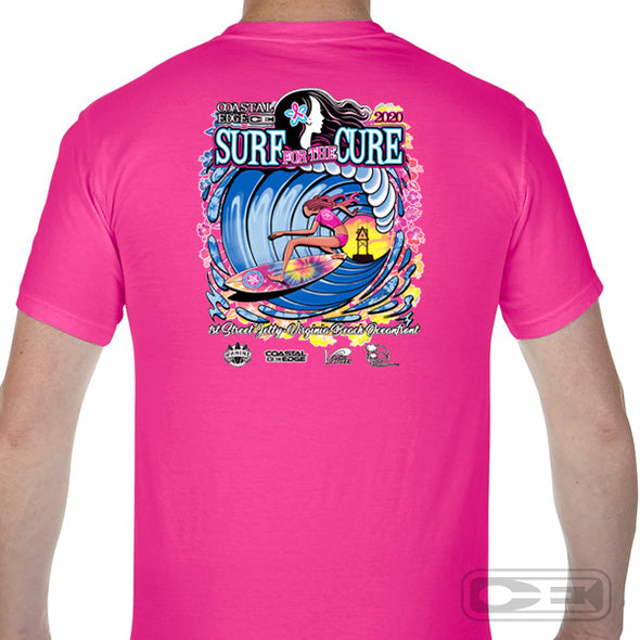 Coastal Edge 2020 Surf for the Cure SS T-Shirt Pink