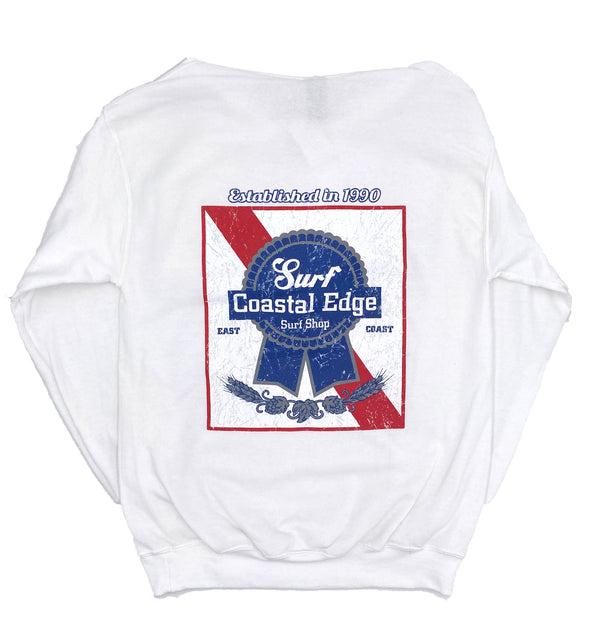 Coastal Edge Ribbon Hooded Sweatshirt - White