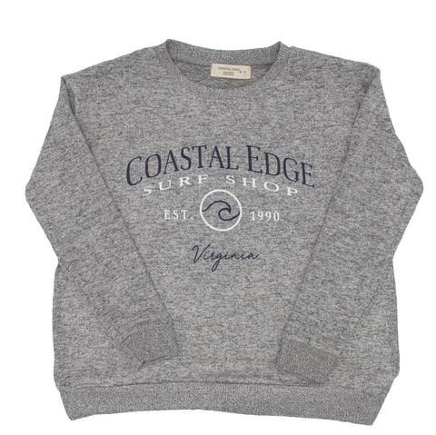 Coastal Edge Circle Wave Crew Fleece Heather Grey