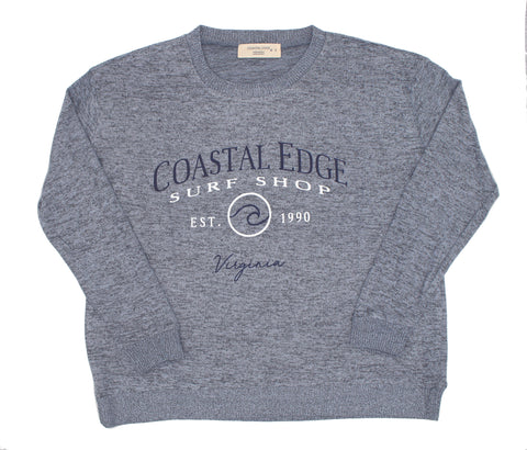 Coastal Edge Circle Wave Crew Fleece Heather Blue