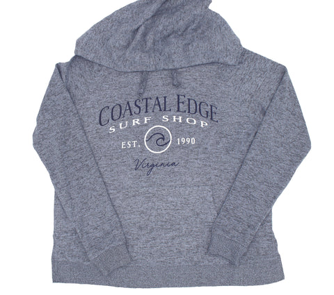 Coastal Edge Circle Wave Hooded Fleece Heather Blue