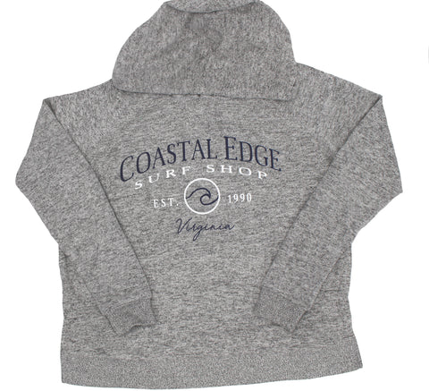 Coastal Edge Circle Wave Hooded Fleece Heather Grey