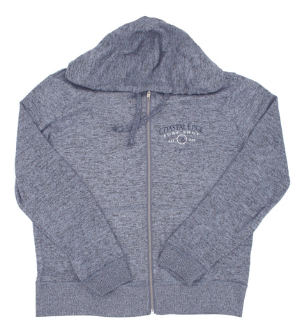 Coastal Edge Circle Wave Hooded Zip Fleece Heather Blue