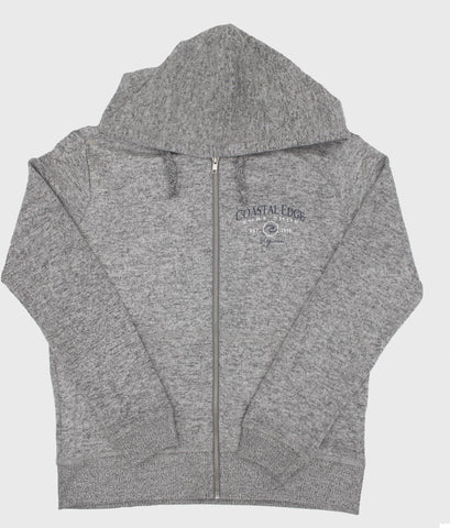 Coastal Edge Circle Wave Hooded Zip Fleece Heather Grey