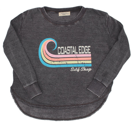 Coastal Edge Curl Women's Crew Fleece Grey
