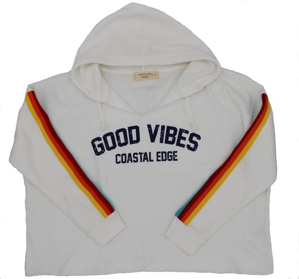 Coastal Edge Rain Vibes Hooded Crop Fleece White