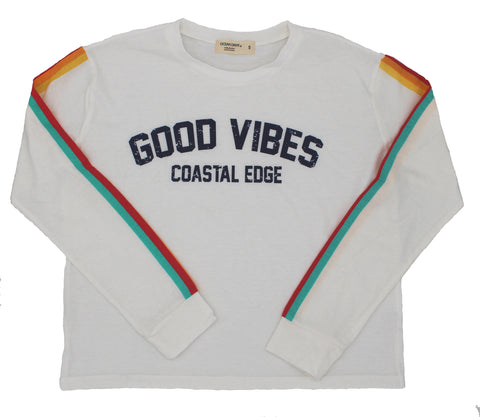 Coastal Edge Rain Vibes Long Sleeve T-Shirt White
