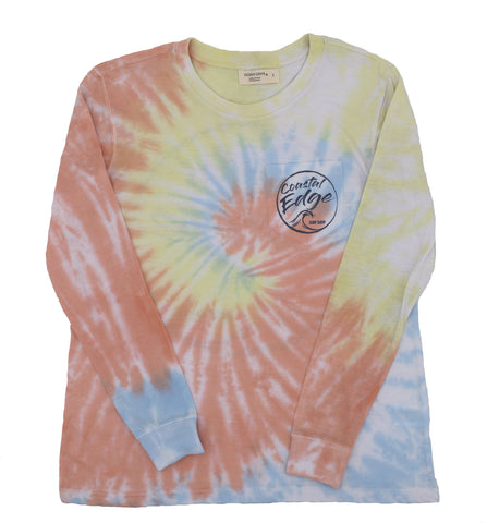 Coastal Edge Wave Vibes Tie-Dye Long Sleeve T-Shirt Maui