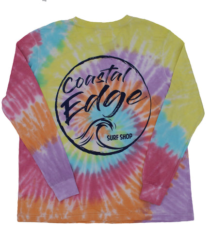 Coastal Edge Wave Vibes Tie-Dye Long Sleeve T-Shirt Rainbow