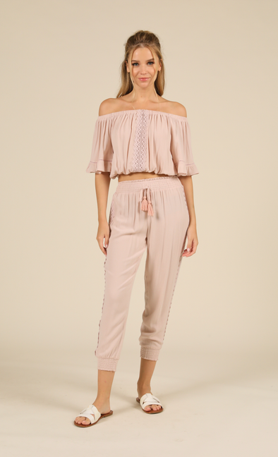 Crochet Trim Smocked Pant Rose