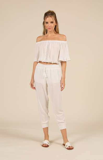 Crochet Trim Smocked Pant White