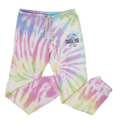 Coastal Edge Salty Vibes Sunshine Swirl Tie Dye Burnout Jogger