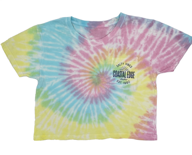 Coastal Edge Salty Vibes Sunshine Swirl Tie Dye Cropped Tee