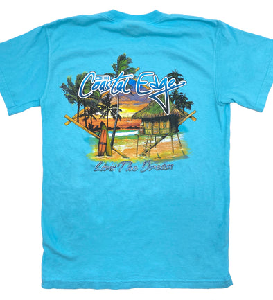 Coastal Edge Sunset Hut Short Sleeve T-Shirt - Lagoon Blue