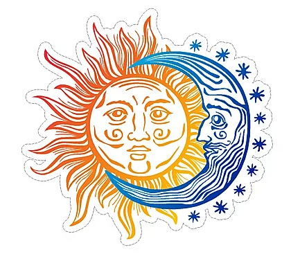 Orange Sun/Blue Moon Large Sticker