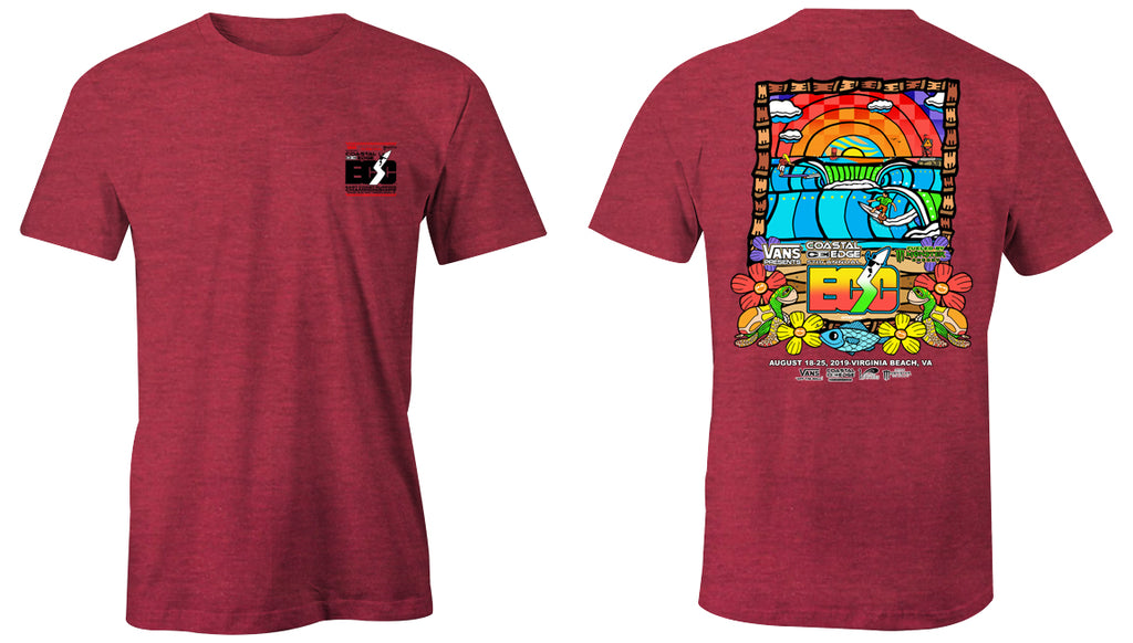 Vans presents the Coastal Edge East Coast Surfing Championship 57th Annual 2019 S/S T-Shirt Heather Red