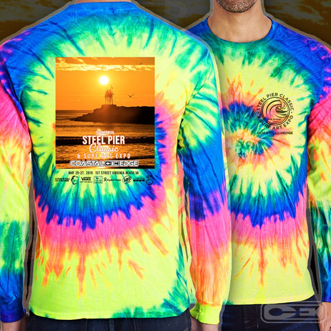 Coastal Edge Steel Pier Classic 2019 Long Sleeve T-shirt Neon Rainbow