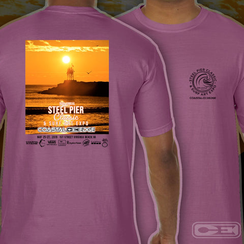 Coastal Edge Steel Pier Classic 2019 Short Sleeve T-shirt Berry