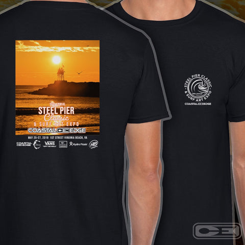 Coastal Edge Steel Pier Classic 2019 Short Sleeve T-shirt Black