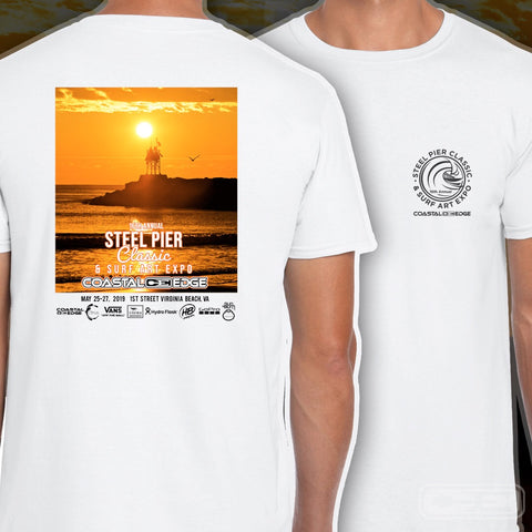 Coastal Edge Steel Pier Classic 2019 Short Sleeve T-shirt White