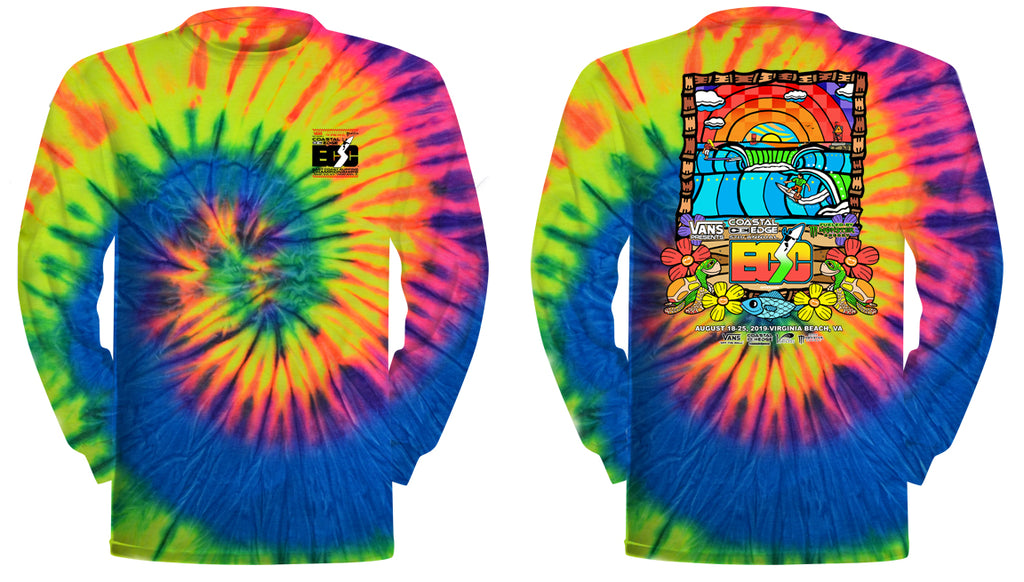 Vans presents the Coastal Edge East Coast Surfing Championship 57th Annual 2019 L/S T-Shirt Neon Rainbow
