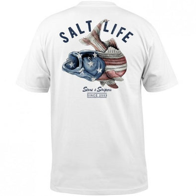 Salt Life Striper Flag Short Sleeve T-Shirt White