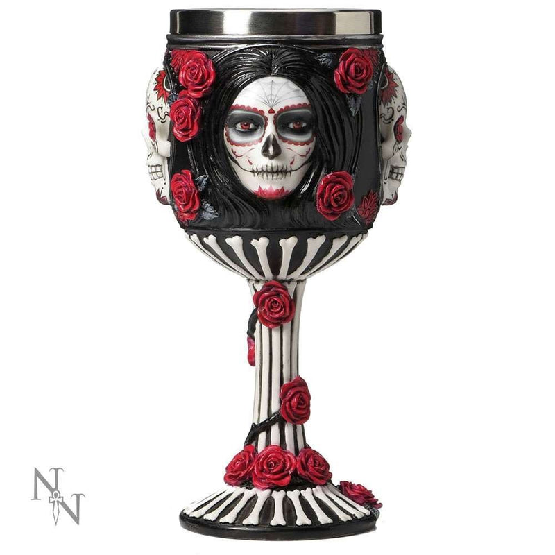 James Ryman - Gothic Sugar Skull Black & Red Wine Goblet