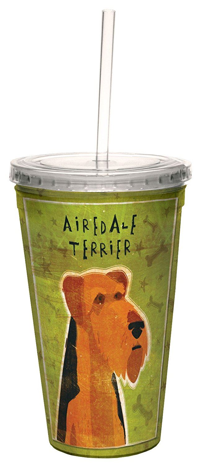 Tree-Free Greetings 16 oz Airedale Terrier by John W Golden Artful Traveler Double-Walled Cool Cup with Reusable Straw