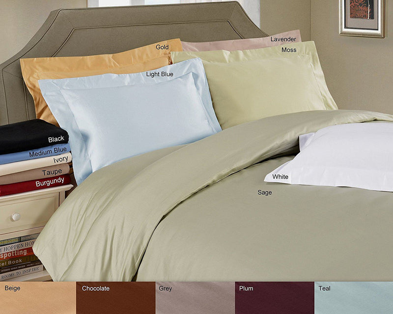 100% Premium Long-Staple Combed Cotton 650 Thread Count, Full/Queen 3-Piece Duvet Cover Set, Single Ply, Solid, White