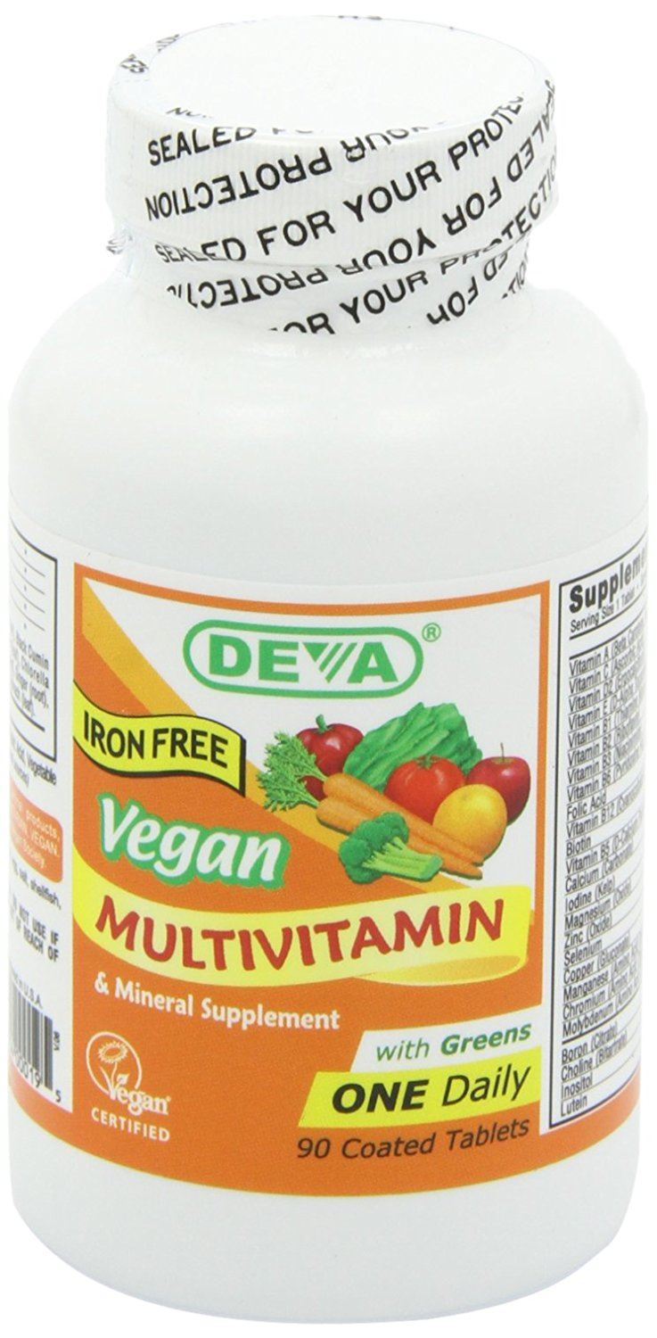 Deva Vegan Vitamins Vegan, Multivitamin & Mineral Supplement Iron Free 90 Coated Tablets