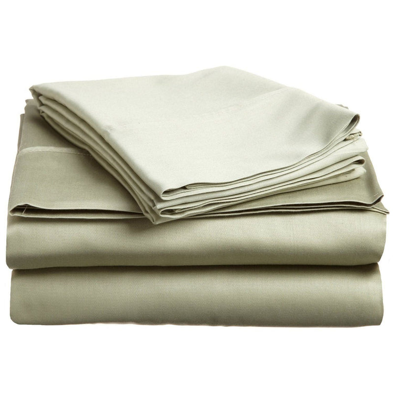Superior 100% Premium Long-Staple Combed Cotton, 300 Thread Count; Deep-fitting pocket, Soft & Smooth 4-Piece Super-King Sheet Set, Solid Sage