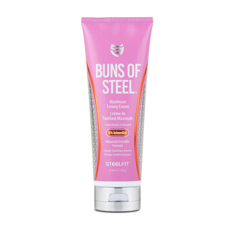 SteelFit Buns of Steel - Maximum Toning Cream - 4% Intenslim - Workout Enhancer - Firming Cream - Cellulite Reduction - Reduce Stretch Marks - 8 fl. oz. (237mL)