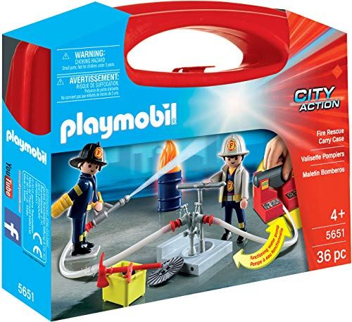 Playmobil 5651 City Action Collectable Large Fire Rescue Carry Case with Functional Water Pump, for Children Ages 4+