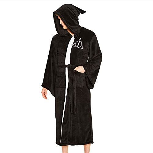 Groovy Deathly Hallows Harry Potter Hooded Bathrobe, Polyester, Black, One Size